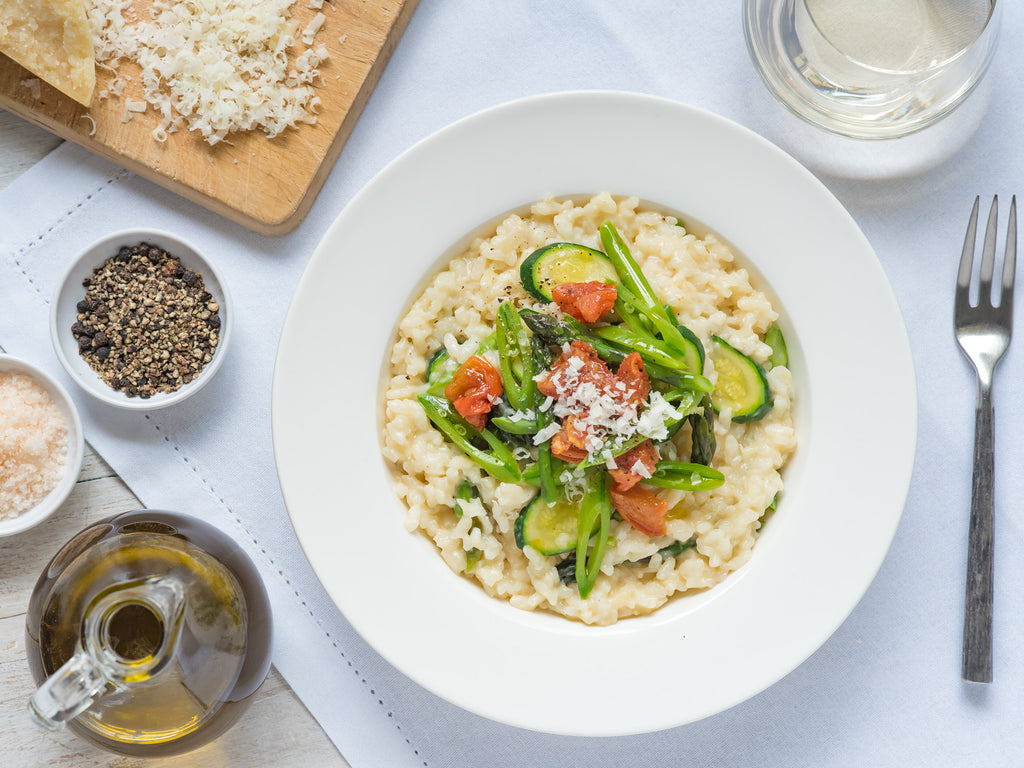 Spring Vegetable Risotto with Bee Lane Cold Smoked Tomatoes