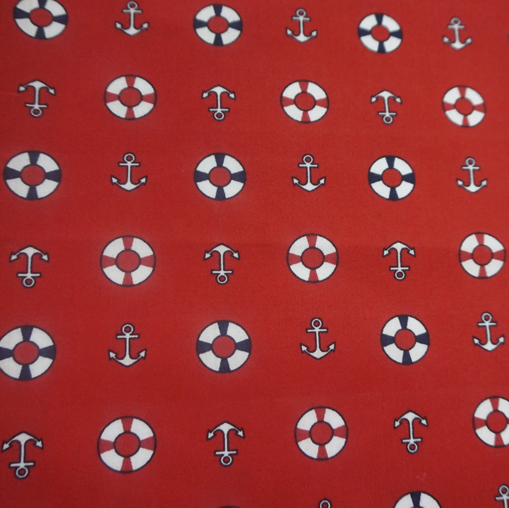 Polycotton with Anchor and Wheel Nautical Print (Per Metre)-Two Colourways