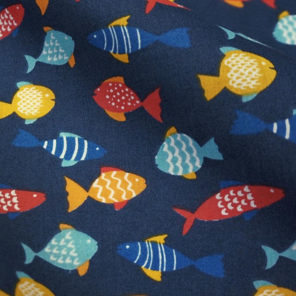 Navy Blue or White Polycotton Fabric with Multicoloured Fish (Per Metre)