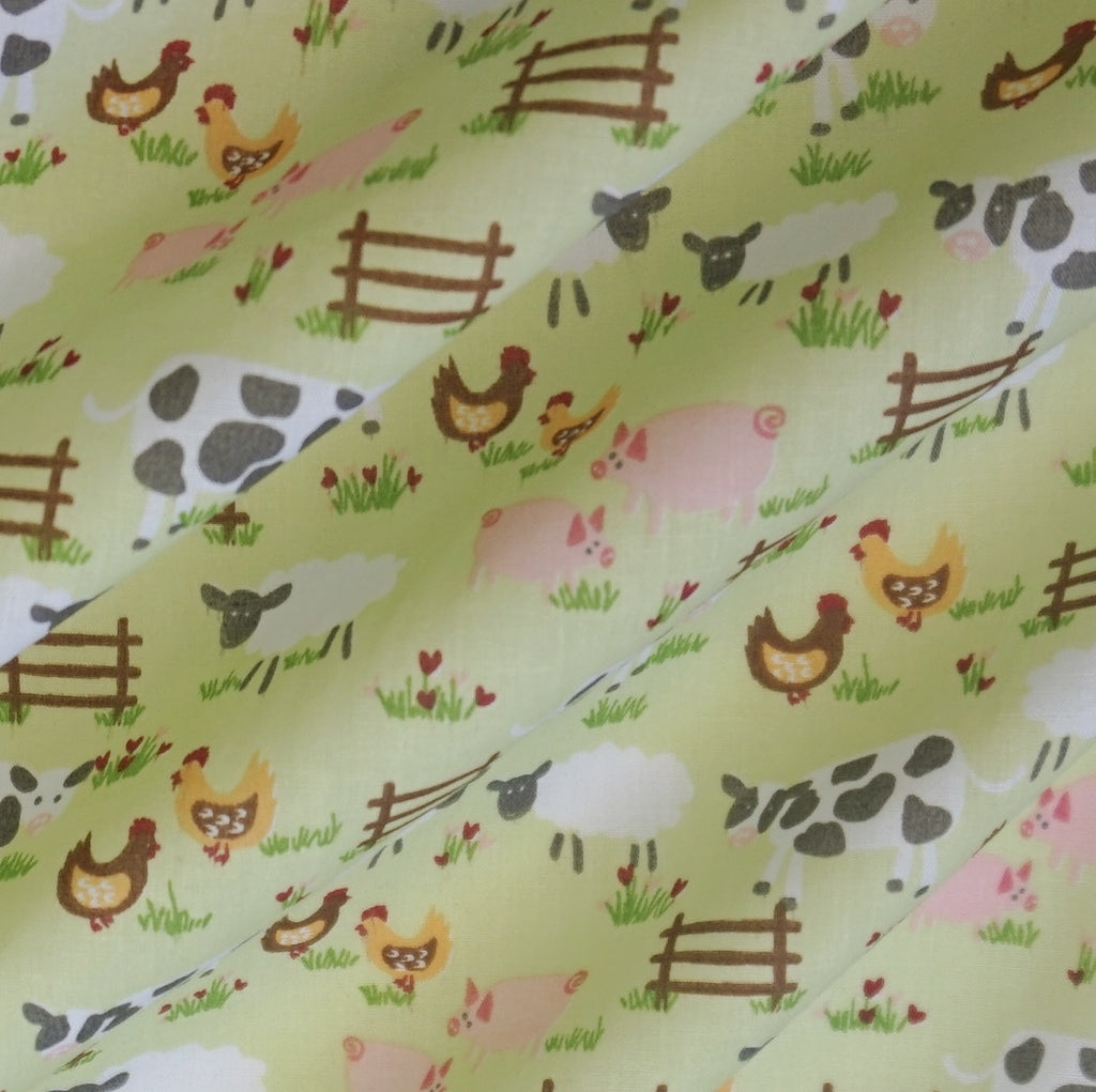 Polycotton Fabric with Farmyard Animals - 2 Colourways (Per Metre)
