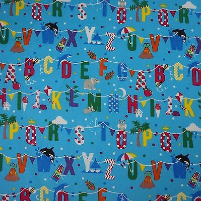 Mid Blue 100% Cotton Fabric with Colourful Alphabet Bunting (Per Metre)