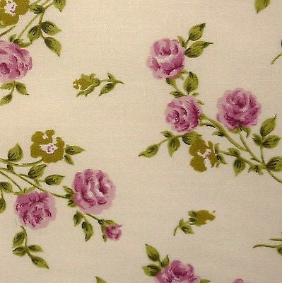 Cream 100% Cotton SML Pink Rose Green Leaf Fabric (Per Metre)