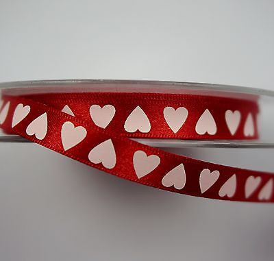 Red Satin 10mm Ribbon with White Hearts (Per Metre)
