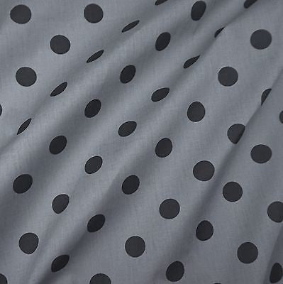 Grey Polycotton Fabric with Large 25mm Black Spot (Per Metre)