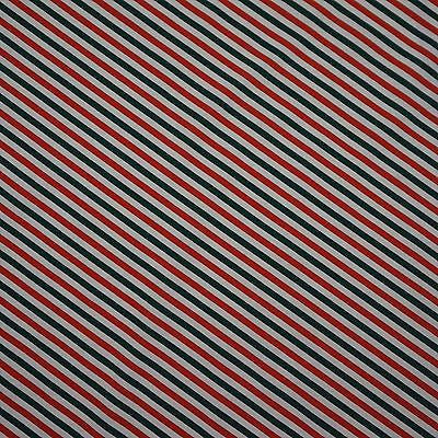 Red, White and Green 8mm Diagonal Stripe Polycotton Fabric (Per Metre)