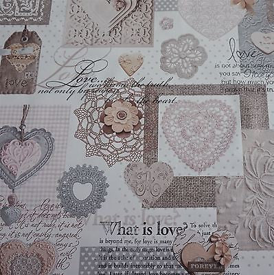 "White Shabby Chic ""Love"" Heart Lace Floral PVC Fabric - 2 Colours (Per Metre)"