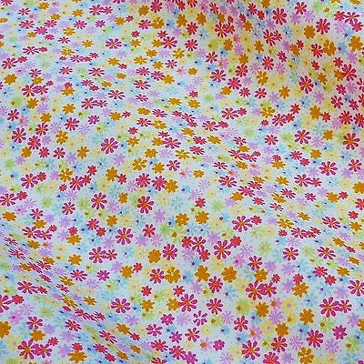 White 100% Poplin Cotton Fabric with Candy Colour Tiny Flowers (Per Metre)