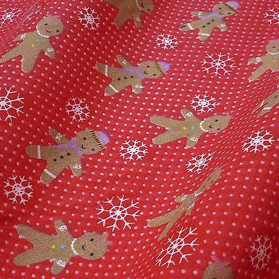 Red Polka Dot Polycotton Fabric with Gingerbread Snowflake Print (Per Metre)