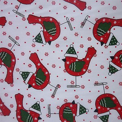 White Polycotton Red Robin With Green Detail And Snowflake And Spot (Per Metre)
