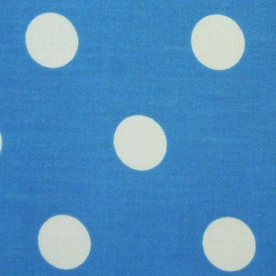 Bright Blue Polycotton Fabric with Large White Spot (Per Metre)