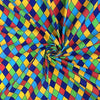 Multicoloured Harlequin Diamond Printed Polycotton Fabric (Per Metre)