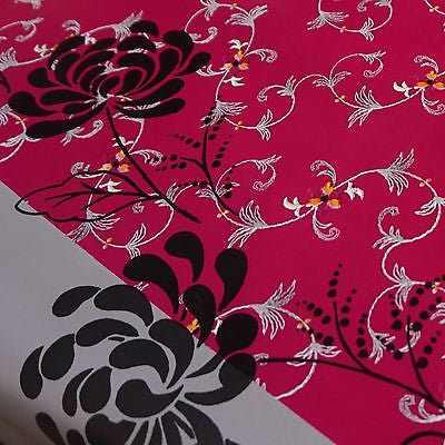 Cerise Pink, Silver & Black Floral Stripe PVC Tablecloth Fabric (Per Metre)