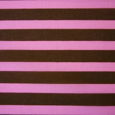 Brown & Pink 13 mm Carnival Stripe Polycotton (Per Metre)