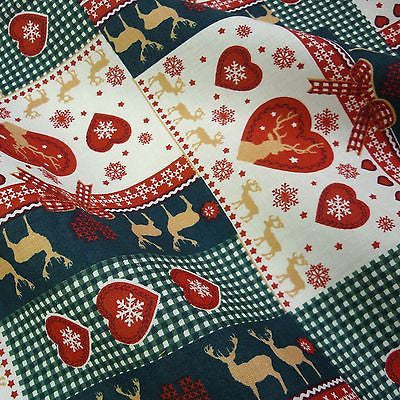 Christmas Gingham & Heart Patchwork 100% Cotton with Reindeer & Snowflakes (Per Metre)
