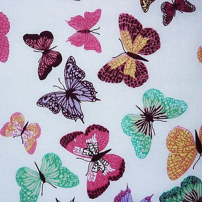 White 100% Craft Cotton Fabric Colourful Butterflies Print (Per Metre)