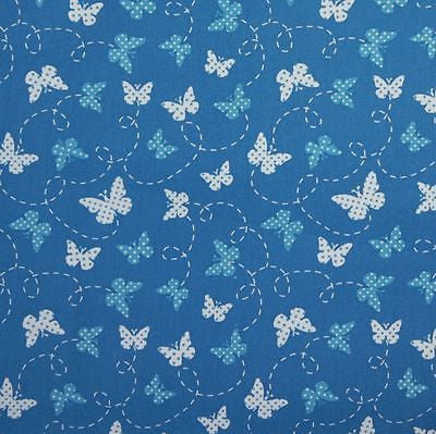 Royal Blue 100% Cotton Fabric with Blue And White Butterflies (Per Metre)