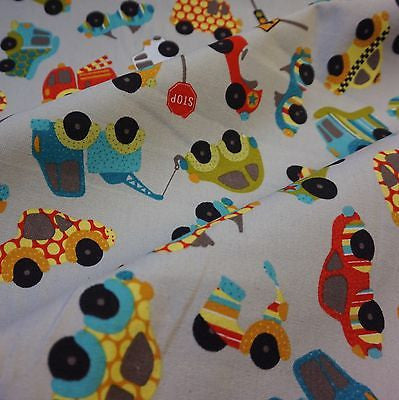 Grey Canvas Fabric with Multi Coloured Cars & Trucks (Per Metre)