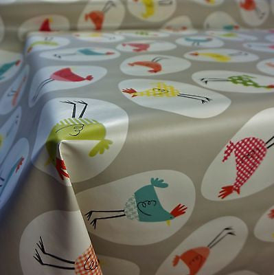 Grey PVC Table Covering with Hen/Chicken Egg Design Tablecloth (Per Metre)
