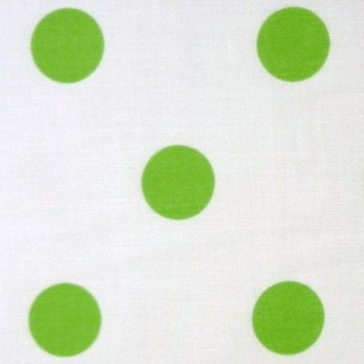 White Polycotton Fabric with Large Lime Green Spot (Per Metre)