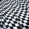 Black & White Harlequin Diamond Printed Polycotton Fabric (Per Metre)