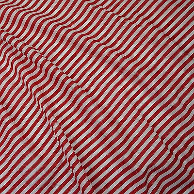 Red And White 8mm Diagonal Stripe Polycotton Fabric(Per Metre)