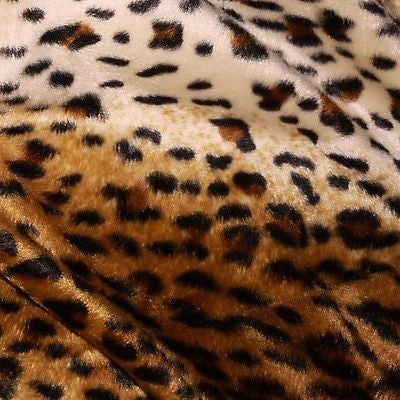 Brown & Cream Cheetah Leopard Print Velboa Fur Fabric (Per Metre)