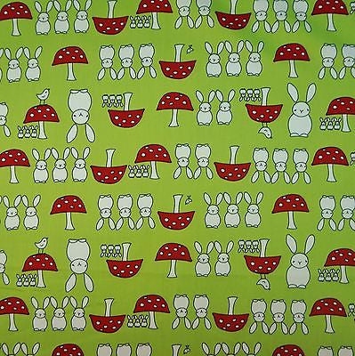 Lime Spring Bunny 100% Poplin Cotton Fabric (Per Metre)