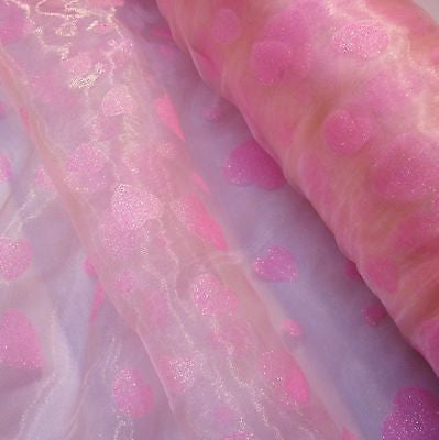 Pale Pink Organza with Pink Glitter Hearts Fabric (Per Metre)