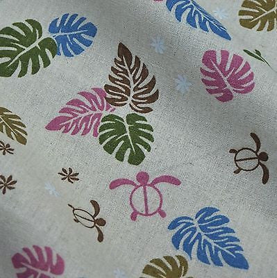 Oatmeal Linen Blend Fabric with Multi Leaf & Sea Turtle Print (Per Metre)