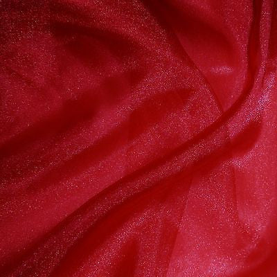 Claret Red Crystal Organza Fabric (Per Metre)
