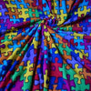 Multi Coloured Printed Jigsaw Fleece Fabric (Per Metre)