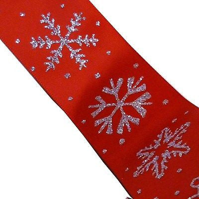 Red Satin Single Sided 38mm Ribbon with Silver Glitter Snowflakes (Per Metre)