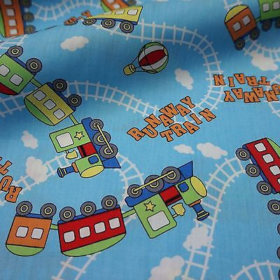 Blue 100% Cotton Printed Runaway Train Fabric (Per Metre)