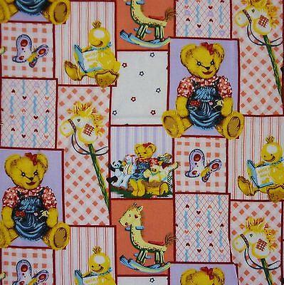 Pastel Patchwork 100% Cotton with Teddy Bears Nursery Fabric (Per Metre)