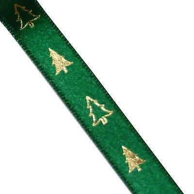 Green Satin Single Sided 10mm Ribbon with Gold Christmas Trees (Per Metre)