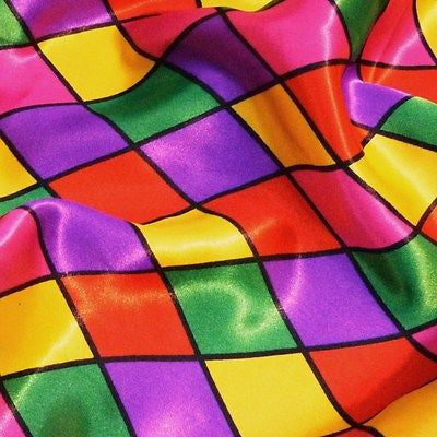 Multi Coloured Harlequin Diamonds (Pinks) Satin Fabric (Per Metre)
