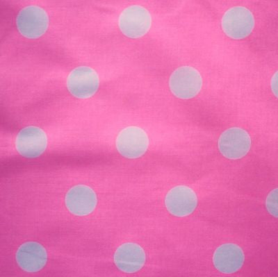 Bright Candy Pink Polycotton Fabric with Large 25mm White Spot (Per Metre)