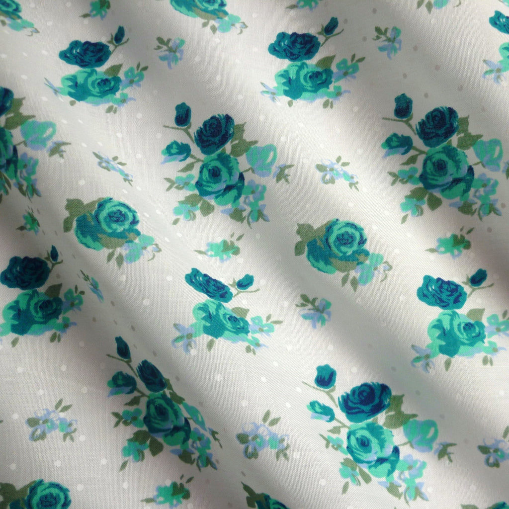 Light Ivory Polka Dot Polycotton Fabric with Roses - Various Colours (Per Metre)