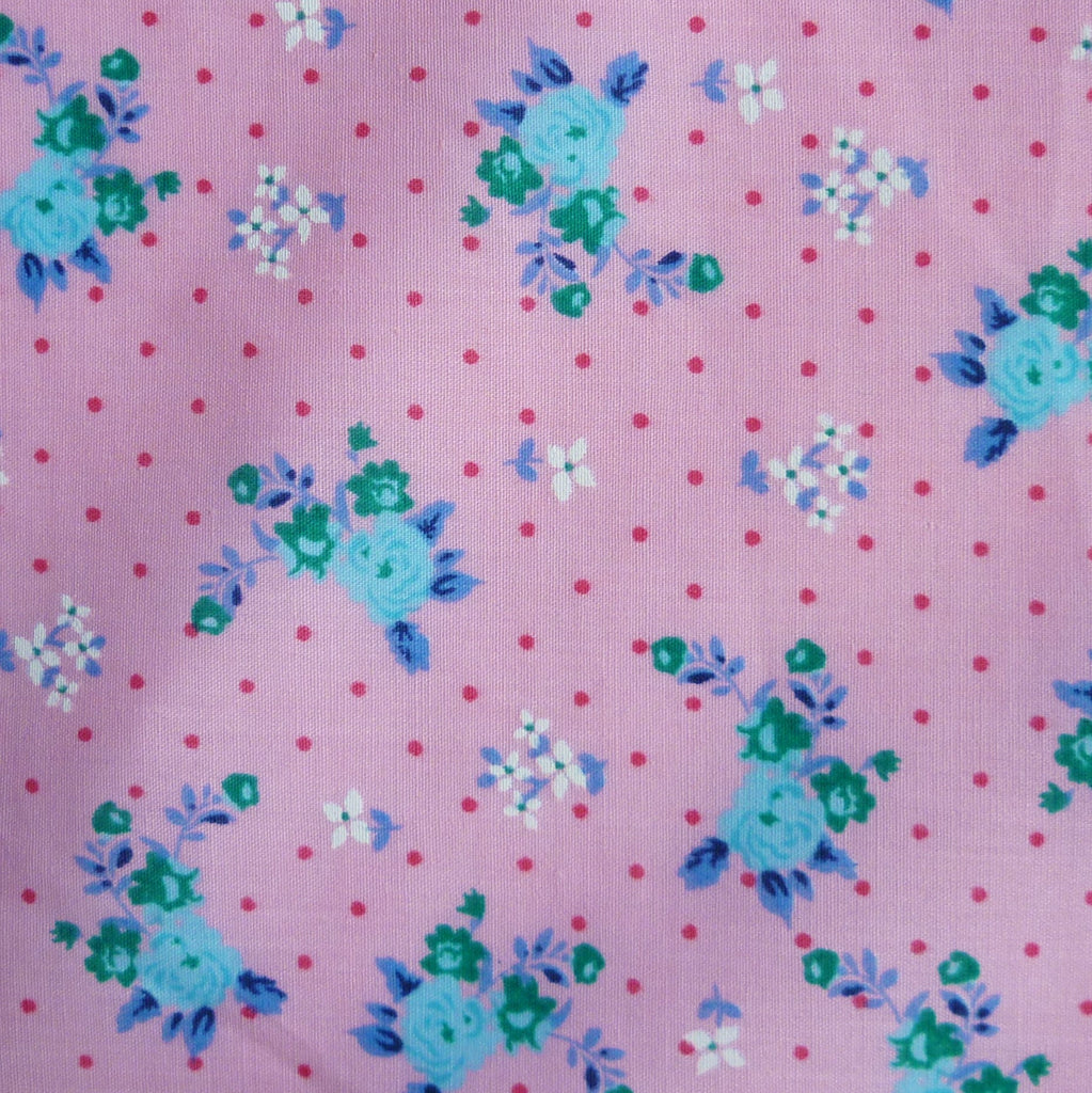 Polka Dot Polycotton Fabric with Roses & Small Flower Print - Various Colours (Per Metre)