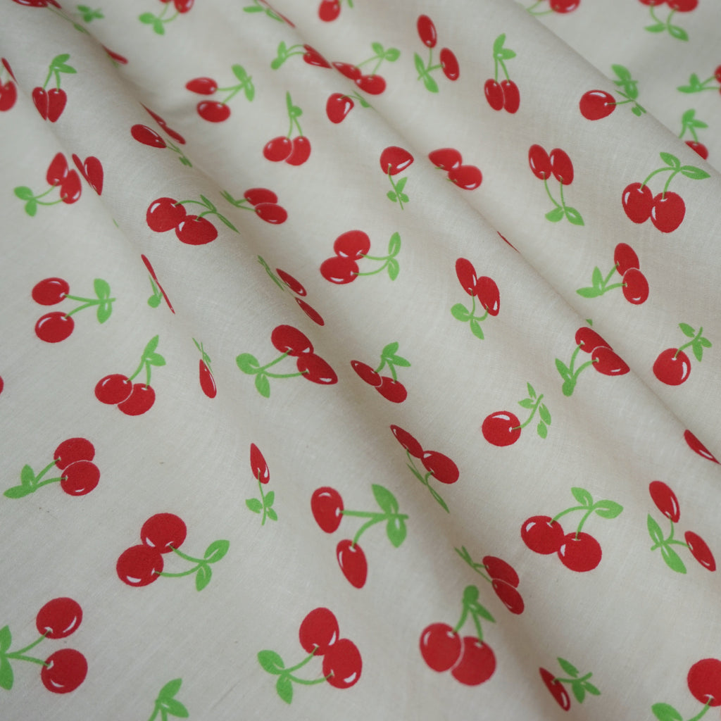 Cherry Design Printed Polycotton Fabric – Various Colours (Per Metre)