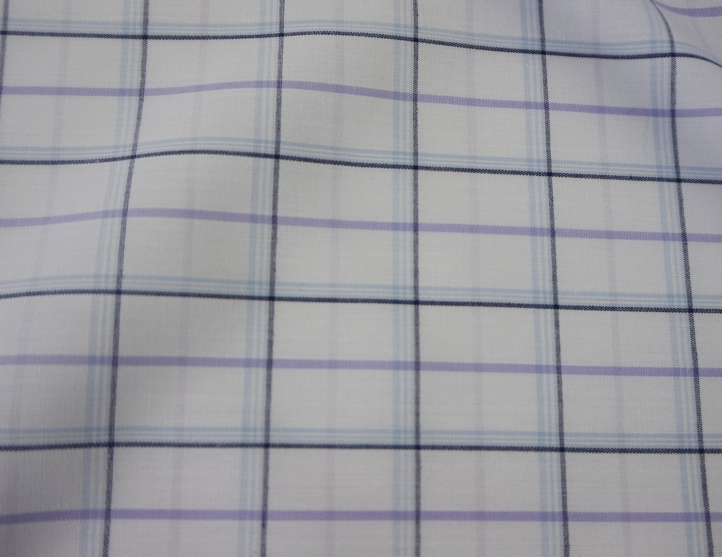 White Tattersall Polycotton Shirting Fabric with Coloured Check