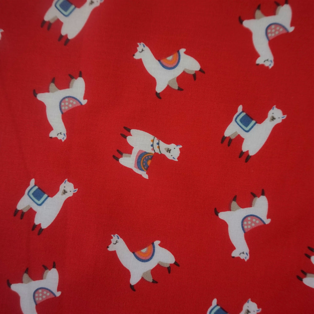 Polycotton Fabric with Llamas--Various Colours (Per Metre)