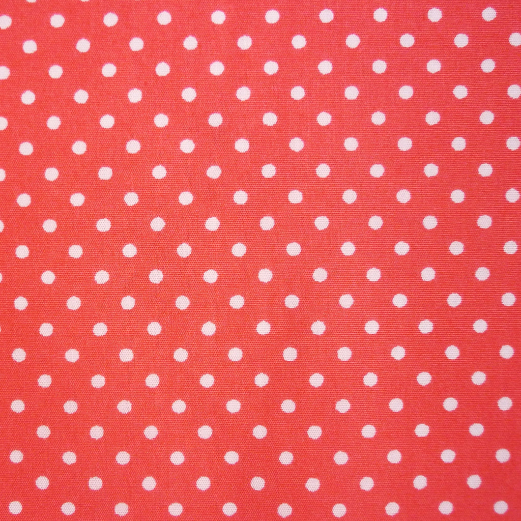 Poplin 100% Cotton with White Polka Dots - Various Colours (Per Metre)