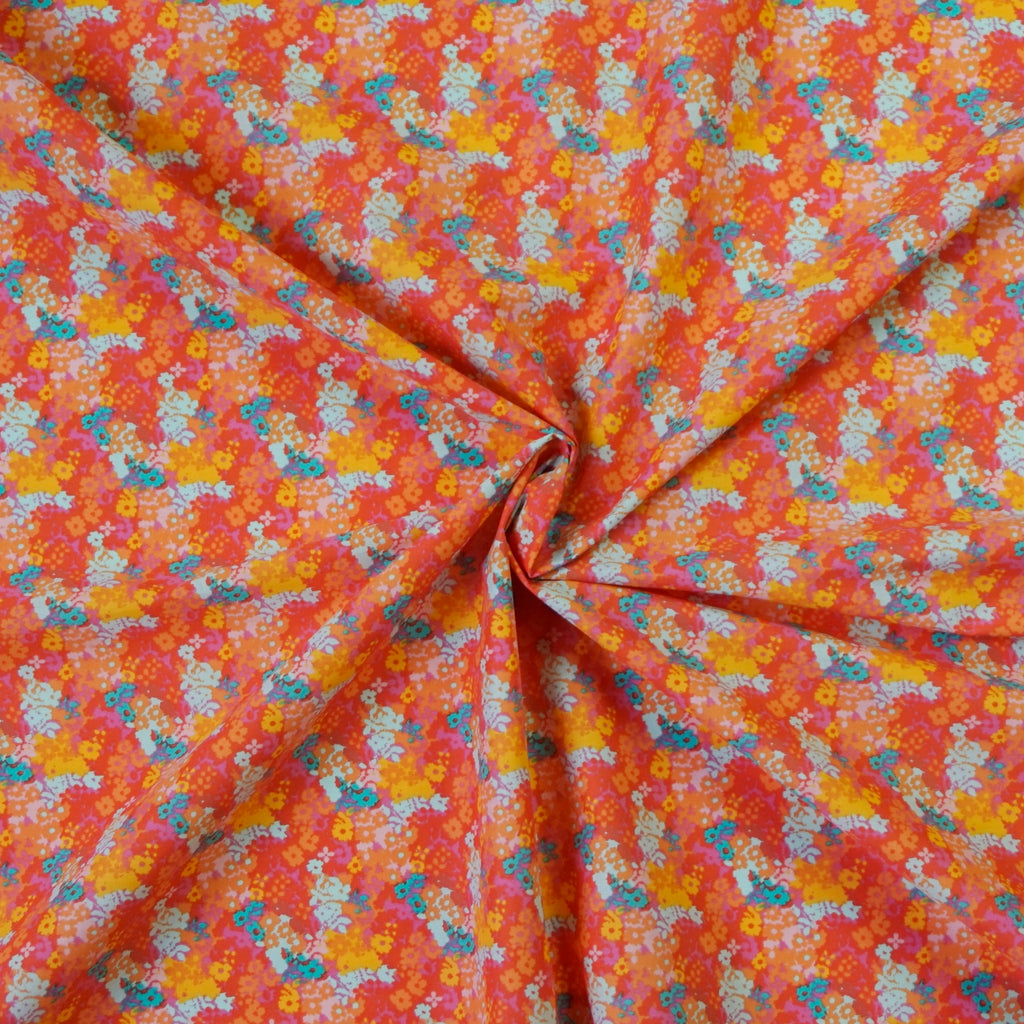 Fresh Floral Polycotton Fabric with Multicoloured Flowers--Various Colours