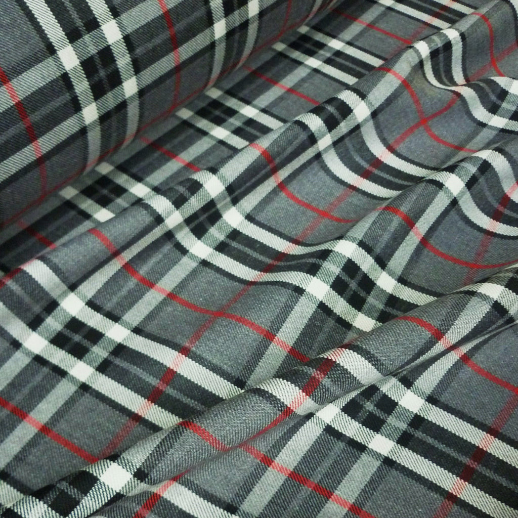 Grey, Black & White Poly Viscose Tartan Red Grid Fabric (Per Metre)
