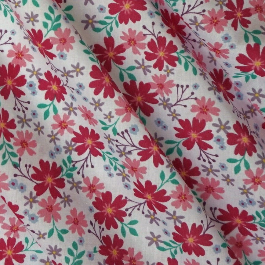 Polycotton Fabric with Colourful Flowers and Leaf Design - 3 Colours (Per Metre)