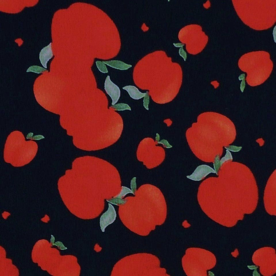 Black 100% Cotton with Red Apple Print Fabric (Per Metre)