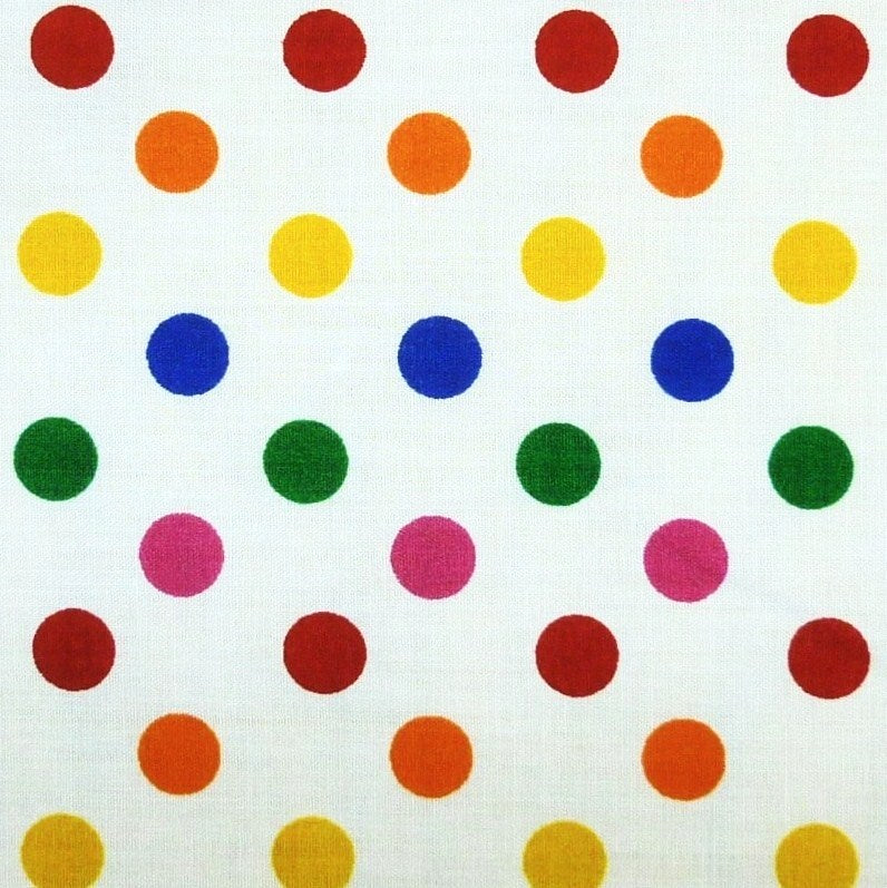White Polycotton Multi Rainbow SML Spot Fabric (Per Metre)