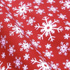 Snowflake Printed Christmas Polycotton Fabric Red Green (Per Metre)