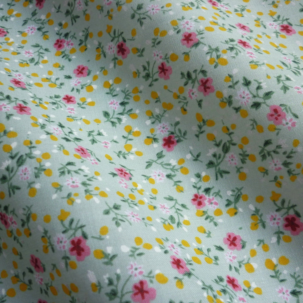 Printed Polycotton Fabric with Little Pink Flower Design - 3 Colours (Per Metre)